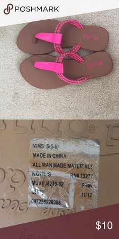 Pink Mudd sandals Hot pink with tan Mudd sandals, worn only once, size 5-6, perfect for summer! Mudd Shoes Sandals