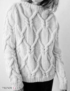 Белый вязаный свитер 2017-2018