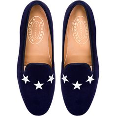 Stubbs & Wootton Commodore Loafer In Navy Velvet found on Polyvore