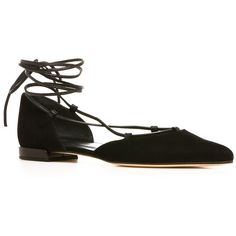 Stuart Weitzman The Gilligan Flat ($398) ❤ liked on Polyvore featuring shoes, flats, black suede, black d orsay flats, black flats, pointed-toe flats, black pointed toe flats and lace up ballet flats