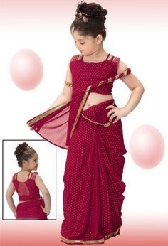 kids Fashion Saree in red colour with dots