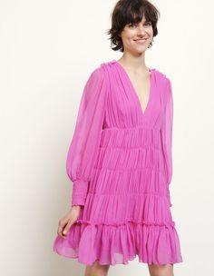 Dyane, Fushia,   sandro-paris.com Dress For Short Women, Short Dresses, Fushia Dress, La Girl, Pink Outfits, Mannequin, Dresses For Sale, Ruffles, Fashion Dresses