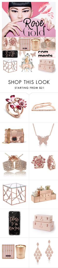 """""""Rose Gold"""" by itsshayplay ❤ liked on Polyvore featuring Gucci, Sole Society, Jimmy Choo, Anne Sisteron, Loushelou, Zuo, Casetify and Henri Bendel"""