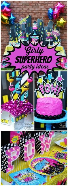 You have to see this amazing girly superhero party! Tons of birthday party inspiration. Holi Party, Girl Superhero Party, Superhero Baby Shower, Dessert Party, Batgirl Party, 6th Birthday Parties, Cake Birthday, Girl Birthday Party Themes, 5th Birthday Party Ideas