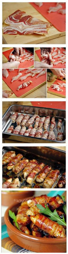 Honey Glazed Chicken and Bacon Bites Ingredients: 1 pound boneless chicken breasts 20 thin bacon slices 3 tbsp honey 2 tsp coarse mustard fresh lemon juice I Love Food, Good Food, Yummy Food, Honey Glazed Chicken, Snacks Für Party, Appetizer Recipes, Chicken Recipes, Chicken Bacon, Baked Bacon Wrapped Chicken
