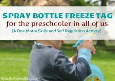 Spray bottle freeze tag sounds like fun! Outside Activities, Gross Motor Activities, Craft Activities For Kids, Summer Activities, Preschool Activities, Games For Kids, Outdoor Activities, Family Activities, Frozen Tags