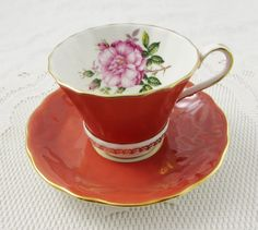 Aynsley Dark Orange Tea Cup and Saucer with Pink Rose on the Inside Rim, Vintage Tea Cup, Bone China