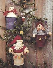 PATTERN Primitive Santa Claus Snowman Raggedy Doll Ornies UNCUT OOP Bunny Hugs