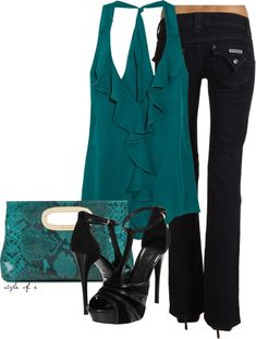 """Black and Teal Night Out"" by styleofe on Polyvore"
