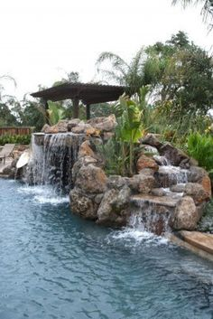 Backyard pool with rock landscape to rock JUMP from.