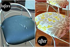 diy tutorial on reupholstering bar stools Upholstered Furniture, Diy Furniture, What House, Bar Stools, Step Stools, Updated Kitchen, Fun Projects, Diy Tutorial, Upholstery