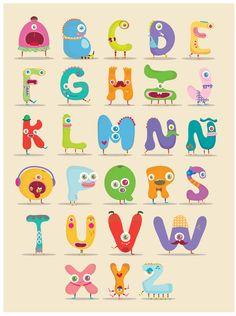 Monster alphabet Art Print by Maria Jose Da Luz Alphabet Design, Cute Alphabet, Alphabet Art, Alphabet And Numbers, Letter Art, Alphabet Posters, Typography Alphabet, Graffiti Alphabet, Letter Size
