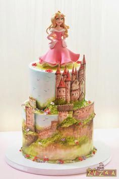 Princess Aurora Cake - Cake by Nasa Mala Zavrzlama Beautiful Birthday Cakes, Beautiful Cakes, Amazing Cakes, Fondant Cakes, Cupcake Cakes, Aurora Cake, Sleeping Beauty Cake, Winnie The Pooh Cake, Hand Painted Cakes