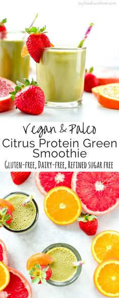 Healthy Smoothies Recipe This Citrus Protein Green Smoothie is the perfect healthy breakfast or snack. It's a plant-based, clean eating smoothie recipe that is packed with grapefruit, oranges, greens and protein! Healthy Green Smoothies, Raspberry Smoothie, Green Smoothie Recipes, Breakfast Smoothies, Fruit Smoothies, Protein Breakfast, Drink Recipes, Grapefruit Smoothie, Detox Smoothies