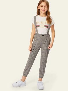 Girls Flap Pocket Side Plaid Pants With Strap - Moda Girls Fashion Clothes, Kids Outfits Girls, Cute Girl Outfits, Tween Fashion, Sporty Outfits, Summer Outfits For Teens, Pretty Outfits, Fashion Outfits, Kids Dress Wear