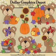 Autumn Bears 1 Clip Art Set, by Trina Clark - $1.00 at www.DollarGraphicsDepot.com - Great for printable crafts, scrapbook pages, web graphics, embroidery patterns, gift tags / bags, and much more!