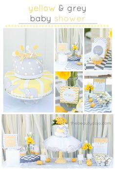 The couple chose yellow and grey for their color scheme, so we quickly compiled a list of the elements we wanted to include in our decor and created a yellow and grey chevron baby shower.