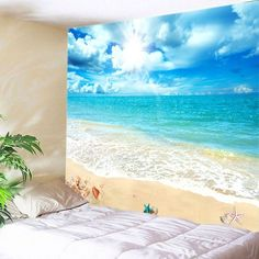 Wall Hanging Art Decor Sunshine Beach View Print Tapestry - Lake Blue W91 Inch * L71 Inch Mobile
