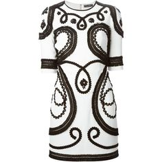 Dolce & Gabbana Embroidered Dress (117.610 RUB) ❤ liked on Polyvore featuring dresses, vestidos, short dresses, white, white mini dress, 3/4 sleeve short dress, embroidered dress, three quarter sleeve dress and short white dresses