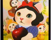 """Carte postale chat jolie impression matte série Wonderland """"modèle 3"""" x1 : Papeterie, carterie par lilycherry"""