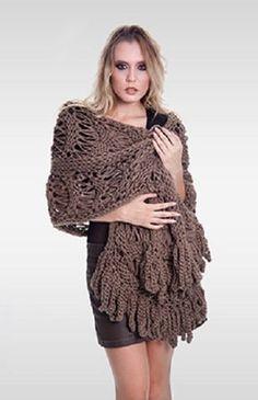 Xale Retangular - Fio Passarela Needlework, Shawl, Knit Crochet, Embroidery, Knitting, Pink, Accessories, Blog, Cardigans
