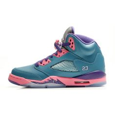 abfb84b2850736 Air Jordan 5 Retro GS Black Orange-Pink ❤ liked on Polyvore featuring shoes
