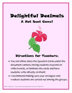 This fun game is a great way to encourage cooperative learning while reviewing decimal concepts in your classroom! This product is one of 8 Hot...