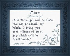 Cross Stitch Liam with a name meaning and a Bible verse