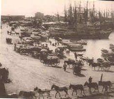 Alicante antiguo. España. Carga y descarga en el puerto