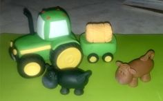 Fondant John Deere Tractor Wagon and Cows by KonopaseksKrazyCakes, $65.00