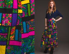 Huge Sale Vintage MAXI PATCH WORK 70s Skirt // by StoreyThreads, $32.00