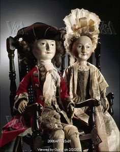 Image No. 2006AP0223-01 Lord and Lady Clapham Dolls. Wood with accessories. England, 1690-1700. © Victoria and Albert Museum, London