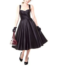Another great find on #zulily! Black Pleated Sweetheart Dress - Women by Unique Vintage #zulilyfinds