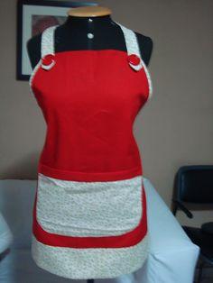 Avental confeccionado com brim e tricoline estampada,por Eleni