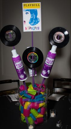 Hairspray Centerpiece Broadway Bat Mitzvah #BatMitzvahCenterpiece for rent Broadway party theme ideas #DIY #Broadway