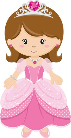 Cute Clipart ❤ Princess with Pink Dress Princess Cookies, Princess Tiara, Princess Theme, Princess Peach, Princess Cartoon, Cute Images, Cute Pictures, Diy And Crafts, Paper Crafts