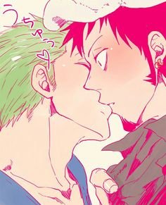 Zoro x Law ~ I don't ship them, but this is cute, true I don't ship it but still it's yaoi Sanji One Piece, One Piece Ship, One Piece Manga, One Piece Pictures, One Piece Images, Anime Guys, Manga Anime, Tsurezure Children, 0ne Piece
