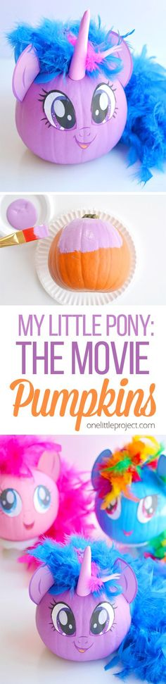 These no-carve My Little Pony pumpkins are SO EASY! Seriously, you paint the pumpkin, peel off the cute little printable faces and add a dollar store feather boa as the hair. So simple! (And best use of a feather boa, ever!) #sponsored #MyLittlePonyMovie