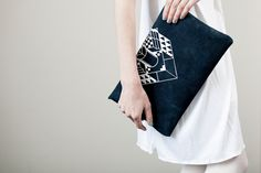 Envelope Bag Geometrical Illusion Leather Suede Navy Blue with White No. EB-101.