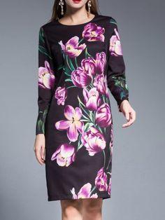 Purple Flowers Print Sheath Dress
