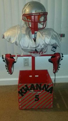 I gave my husband an idea and he ran with it! This is a football equipment stand so my son stuff can air out AND be easy to find ❤❤