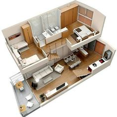 Modern home design – Home Decor Interior Designs Sims House Plans, Modern House Plans, Small House Plans, House Floor Plans, Loft Floor Plans, Apartment Layout, Apartment Design, Duplex Apartment, Small House Design