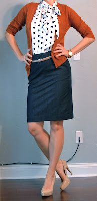 denim pencil skirt, polka dot blouse, cardigan and pumps