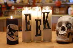 Cute way to decorate those prayer candles from the dollar store for Halloween (design by Cathie Filian) (Halloween Bake Witch)