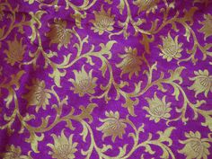 Purple Brocade Fabric By the Yard Wedding Dress Fabric Indian Banarasi Brocade Fabric for Costume Crafting Sewing Bridal Dress Material