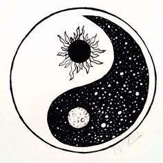 Drawn moon yin yang #912