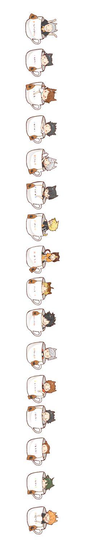Xícaras de chá + orelhas de gato + Haikyuu = explosão de fofura *u*