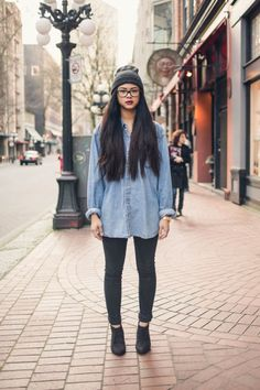 Chambray Shirt/Ankle Boots/Beanie/Long Hair