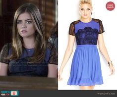 Aria's blue and black lace dress on Pretty Little Liars. Outfit Details: http://wornontv.net/46985/ #PLL