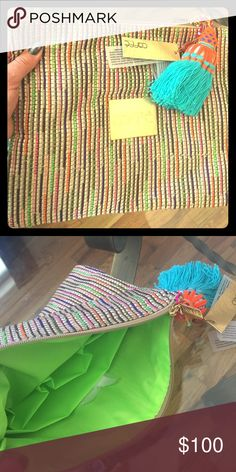 Caffe-Multi with tassel Woven with orange, purple, pink, green, brown, cream and gold fabric caffe Bags Clutches & Wristlets